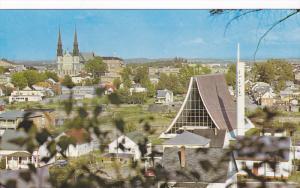 Partial View of City, St. Dominique Church, St. Raphael Church, Jonquiere, Qu...
