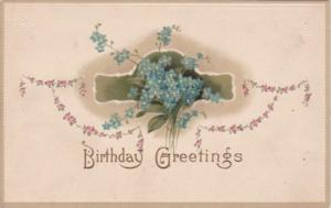Birthday Greetings With Beautiful Blue Flowers 1915
