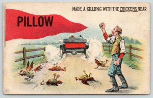 Made a Killing With the Chickens near Pillow PA~Car Runs Over~1917 Pennant PC