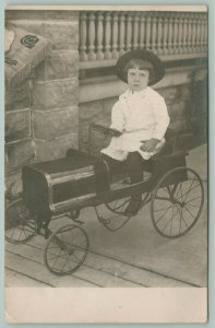 Real Photo Postcard~Little Girl Wears Hat in Pedal Car~Crank Front~c1908 RPPC