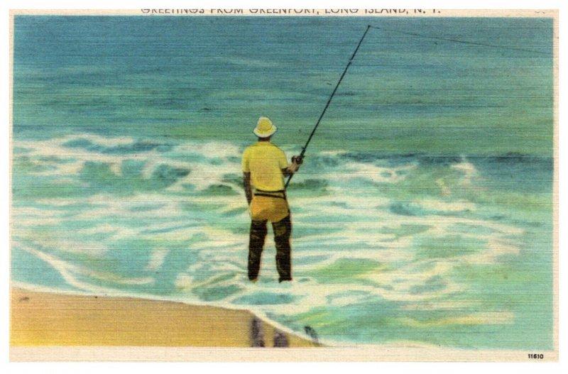 New York Greetings Greenport L I Surf Fishing