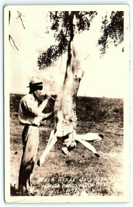 VTG Postcard RPPC Real Photo Exaggerated West Texas Jackrabbit Knife Howard A9