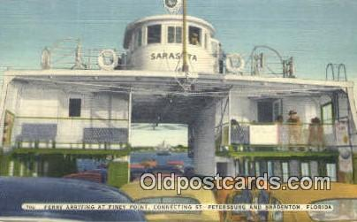 Ferry Arriving At Piney Point, St Petersburg, Florida, FL USA Ferry Ship Post...