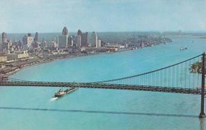 Aerial View, Ambassador Bridge Crosses the Detroit River, From Detroit, Michi...