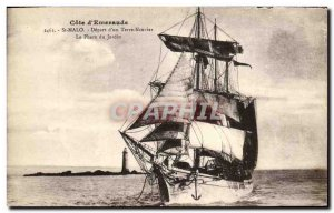 Postcard Old St Malo Departure of a Neuvier Earth Garden Lighthouse Boat Sail...