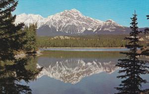 Pyramid Mountain and Reflections in the Lake, Canadian Rockies, Jasper, Alber...