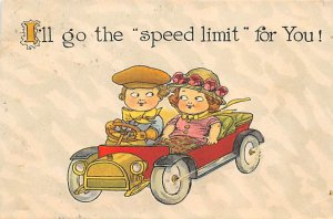Auto After 1950 Post Card Speed Limit 1916