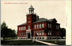 Bangor, Michigan Postcard HIGH SCHOOL BUILDING Front View c1910s Unused