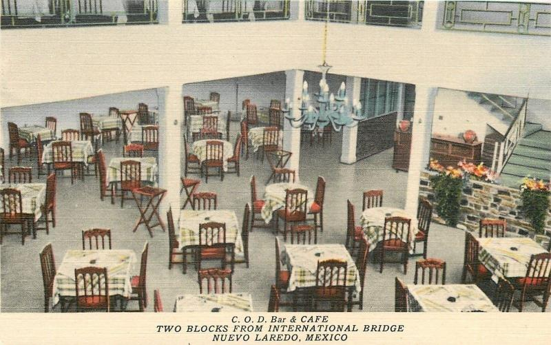 Nuevo Laredo Mexico~COD Bar & Cafe~Interior~Downstairs~1940s Linen Postcard