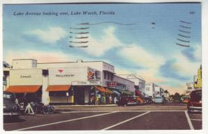 P323 JLs postcard 1958 old cars bikes stores lake worth florida used