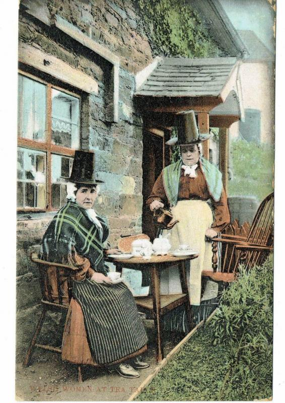 WELSH LADIES IN NATIONAL COSTUME TAKING TEA 1909