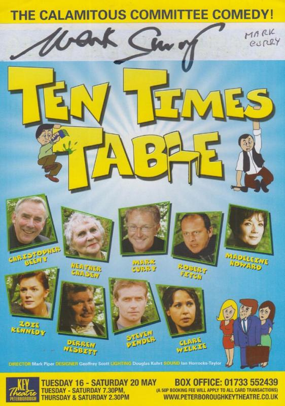 Mark Curry Blue Peter Ten Times Table Peterborough Hand Signed Theatre Flyer