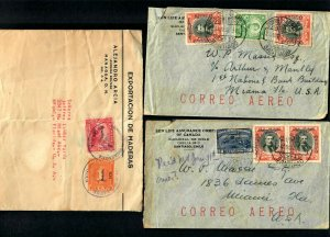 Lot3tu (3) Covers Chile 1930 OP Correo Aereo, Nicaragua OP 1935 Resello MIami Fl