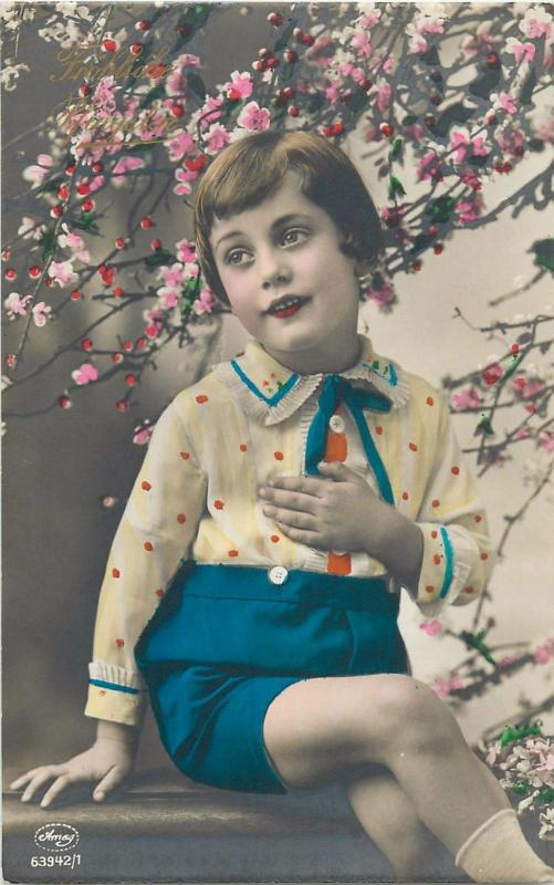 Vintage tinted photo postcard Pentecost greetings blossoms children fashion girl
