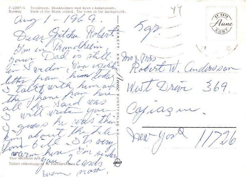 Trondheim, Munk Island Norway 1969 Missing Stamp