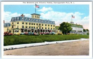 NARRAGANSETT PIER, Rhode Island  RI     BREAKERS & ATLANTIC HOTELS   Postcard