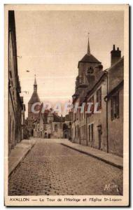 Old Postcard Avallon The Clock Tower and Church St Lazare