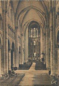Postcard France le mans la cathedrale interior church architecture altar