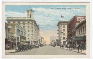 Pine Avenue Cars Long Beach California 1920c postcard