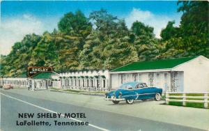 LaFollette TN~New Shelby Motel~White Stucco Cabins~Spent Xmas 1958~1950s Car