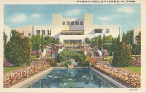 Samarkand Hotel, Santa Barbara, California, Early Linen Postcard, unused