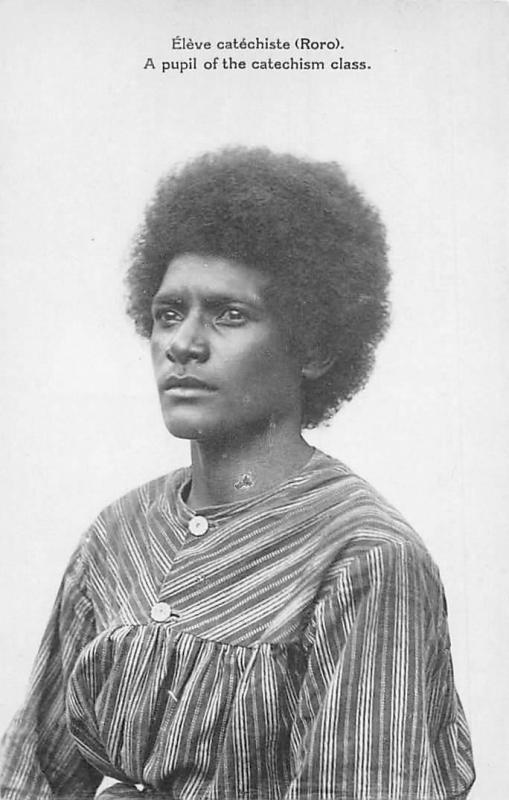 Papua New Guinea, Eleve catechiste (Roro) pupil of catechism class, Afro Hair