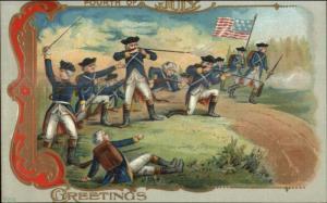 4th Fourth of July George Washington Revolutionary War Series #520 Postcard #1