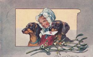 Dachshund's posing with a girl in bonnet, 1906; Frohliche Weihnachten