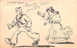 Smoking Old Vintage Antique Post Card Stern Chase 1909
