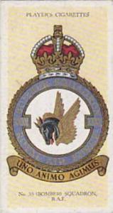 Player Vintage Cigarette Card R A F Badges N0 25 No 35 Bomber Squadron  1937
