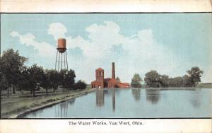 Van Wert Ohio~Waterworks~Looking Across Water~Water Tower~1914 Postcard