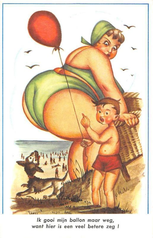 "Humour Plage seaside comic humour: big woman, beach, plage, dog, child ""i throw"