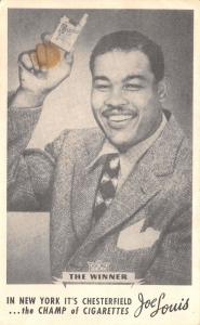 New York City~Boxer Joe Louis Hawks Chesterfield~Champ of Cigarettes~1950s Adv
