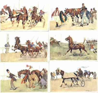 Fritz Sconpflug Postcards, Series B.K.W.I. 678, Horse Racing 6 Card Set Post ...