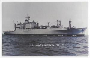 USS Santa Barbara AE-28 At Sea US Navy Ship Boat Vessel Postcard