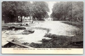 Sioux City Iowa~Corner W 6th & Water Streets~Kids Wade in Water~July 1909 Flood