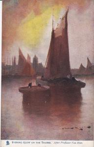 ENGLAND, 1900-1910's; Evening Glow On The Thames, Sail Boats ; TUCK # 2574