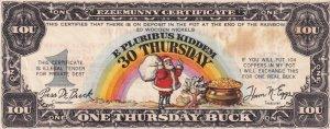 SANTA CLAUS, Ezeemunny Certificate, One Thursday Buck, IOU