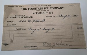 1915 The Fountain Ice Company Merchants Ice Reading PA Invoice Letterhead