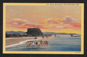 Black Rock Beach w/Girls Great Salt Lake UT unused c1938