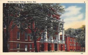 Dover Delaware~Wesley Junior College~State & Cecil Streets~1940s Linen Postcard