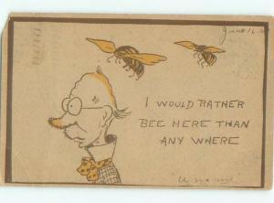 Pre-Linen Comic BUMBLEBEE BEES ON HEAD OF BALD MAN AB9324