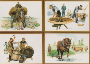 The Cart Delivery Ploughing Carthorse Beer Barrell Country Crafts 5x Postcard