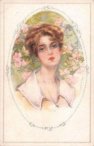 US2947 Woman Portrait Flowers, Fleurs Postcard  germany couple goals  flirt love