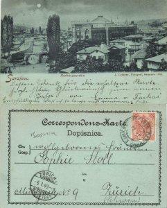 bosnia and herzegovina, SARAJEVO Сарајево, Town Hall by Night (1899) Postcard