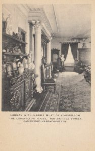 CAMBRIDGE, Massachusetts, 1900-10s; Library with Marble Bust of Longfellow, T...