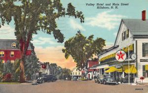 Hillsboro NH Valley Hotel Texaco Gas Station Old Cars postcard