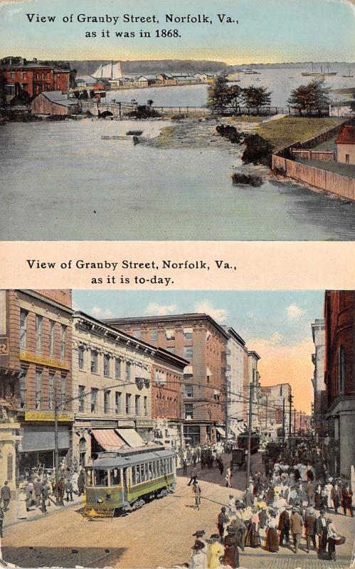 Norfolk Virginia~China-Glass Bldg & Trolley in 1910~Granby St in 1868~Splitview