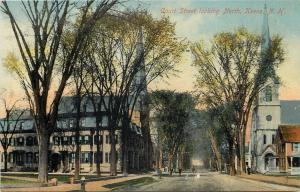 Keene New Hampshire~Churches on Either Side of Court Street c1910