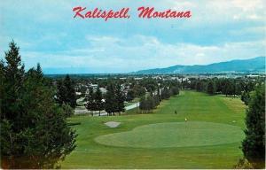 Kalispell Montana~Man on Faireway~Ball on Green @ Golf Course~1960s Postcard